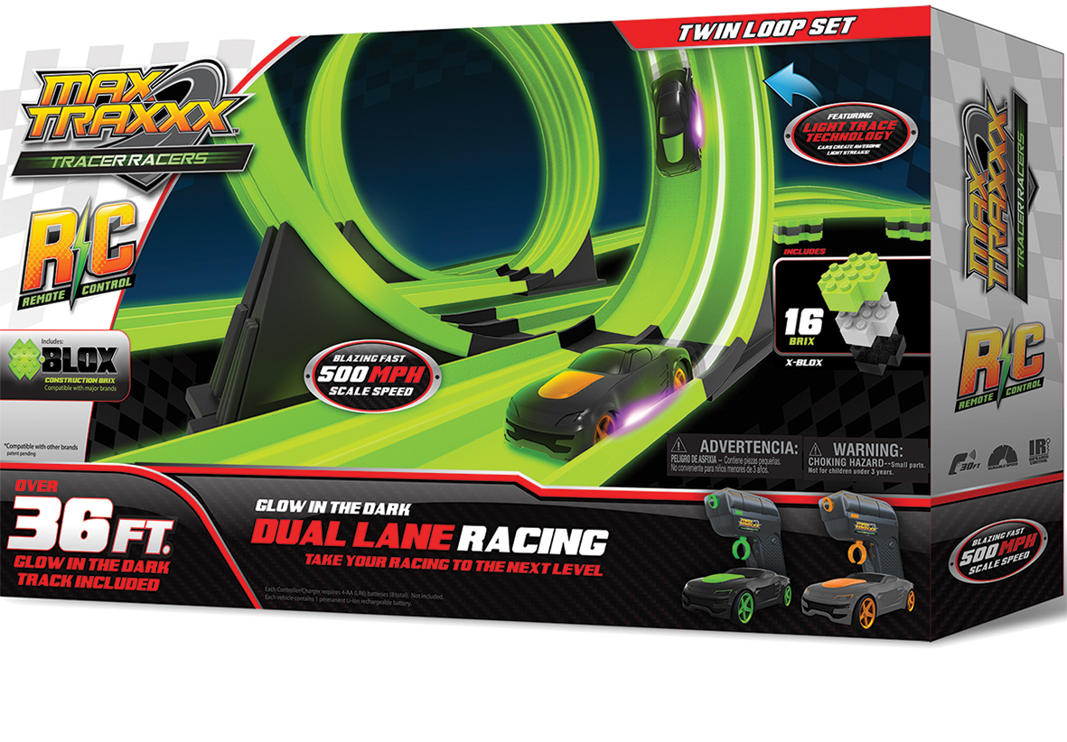Skullduggery Max Traxx Tracer Racers Glow in the Dark Twin Loop Playset